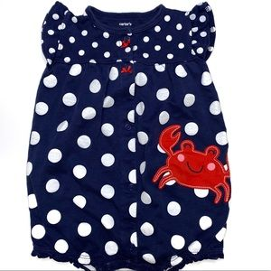 4 For $20 Carters Polka Dots Crab Romper 9 Months